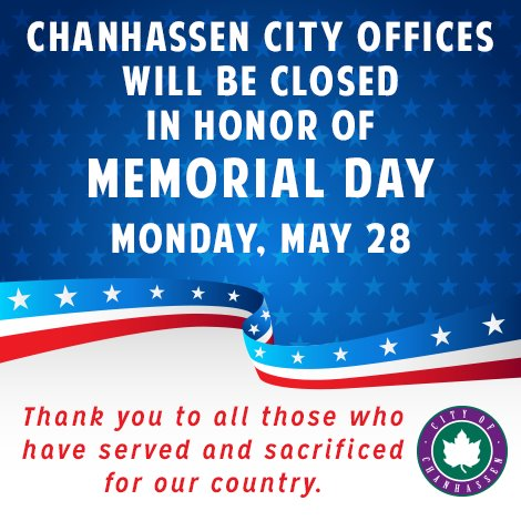 City offices will be closed for Memorial Day